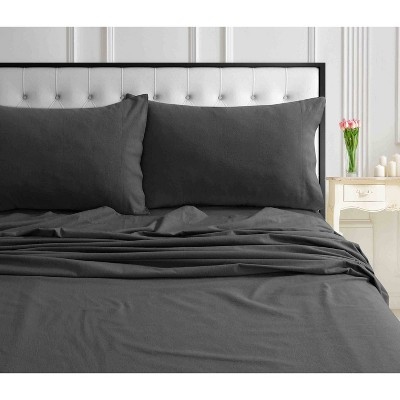 Queen Solid Extra Deep Pocket Ultra Soft Flannel Sheet Set Arctic Gray - Tribeca Living