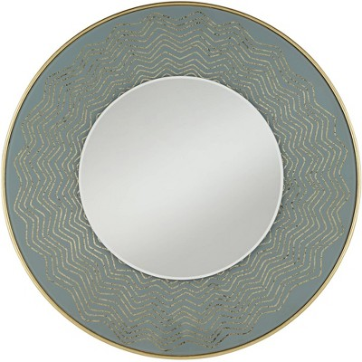 "Possini Euro Design Beldon Gold Leaf 31 1/2"" Round Chevron Etched Wall Mirror"