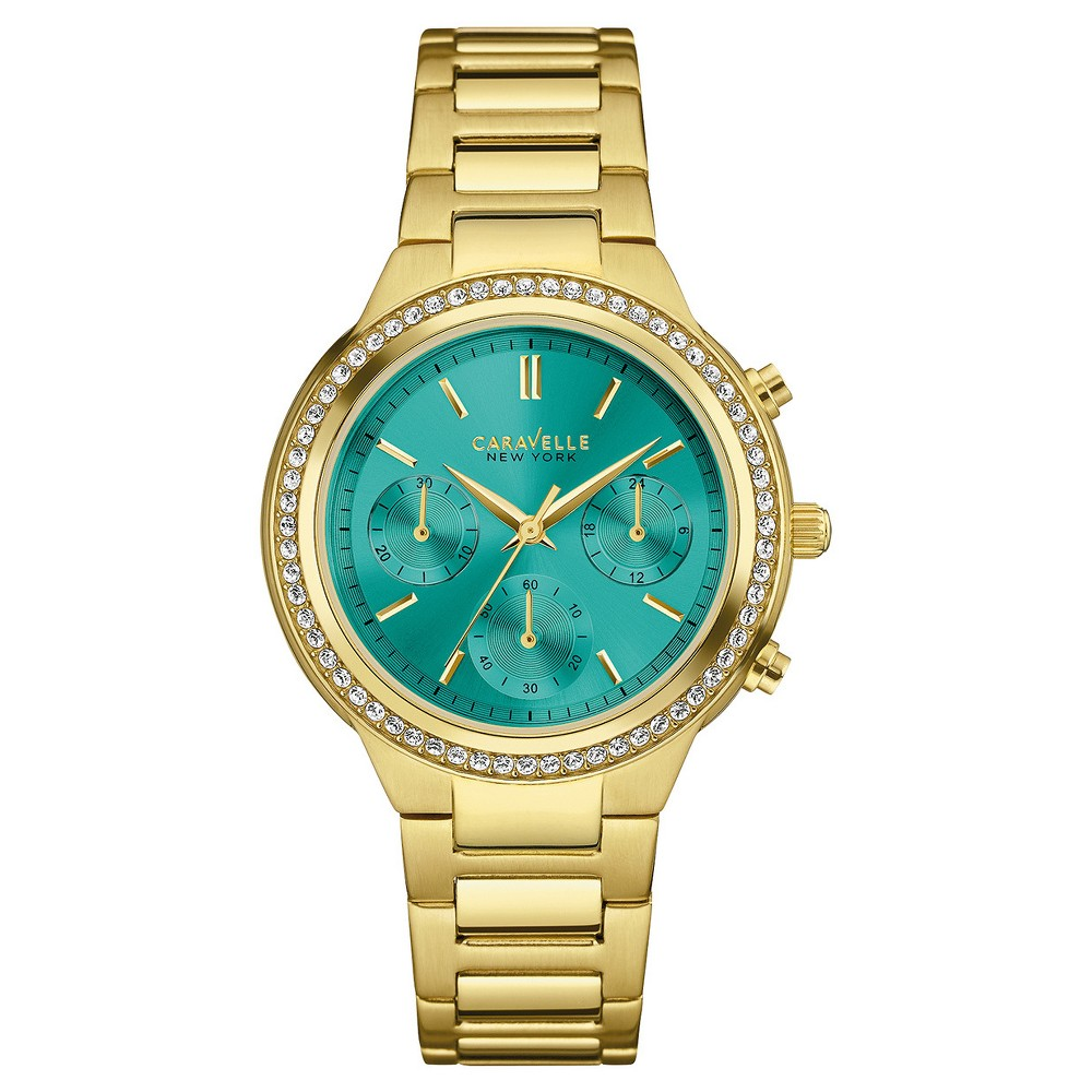Women's Caravelle New York Crystal-Accent Chronograph Stainless Steel Watch 44L215 - Bright gold