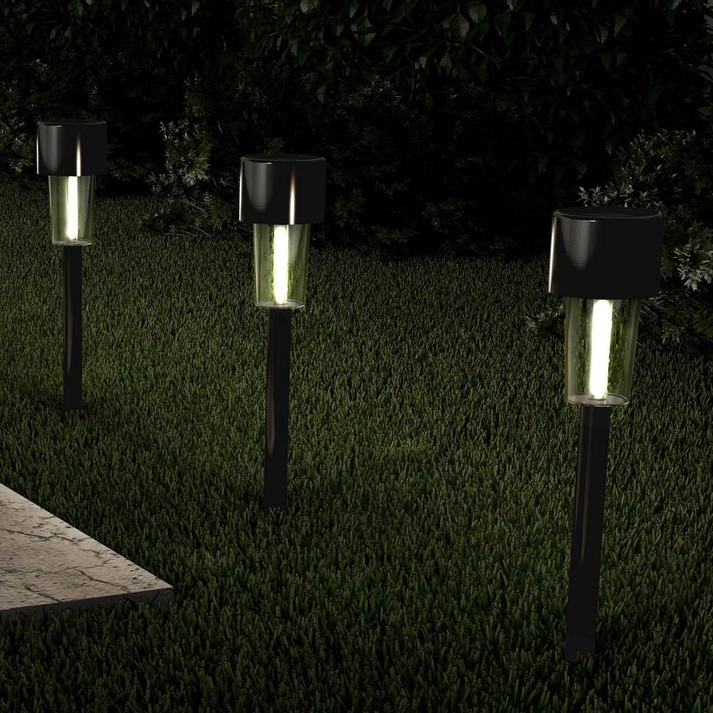"12pk 12"" Solar Path LED Outdoor Stake Lights Black - Pure Garden"