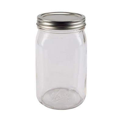 Ball 32oz 12pk Glass Smooth-Sided Wide Mouth Mason Jar with Lid and Band