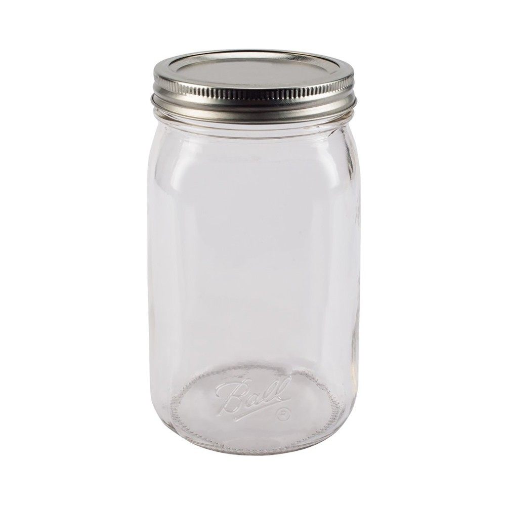 Image of Ball 32oz 12pk Glass Smooth-Sided Wide Mouth Mason Jar with Lid and Band