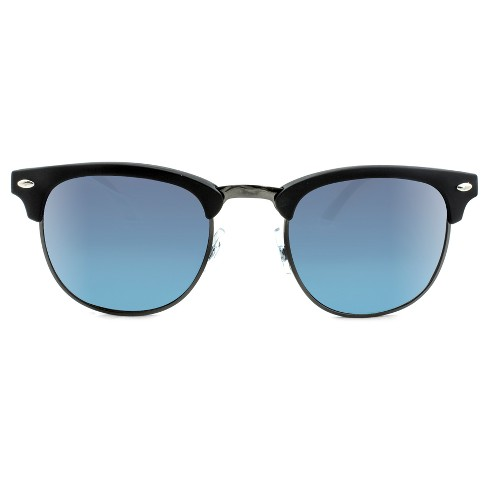 Men s Clubmaster Sunglasses With Blue Mirrored Lenses - Black   Target b54d8acf4b3