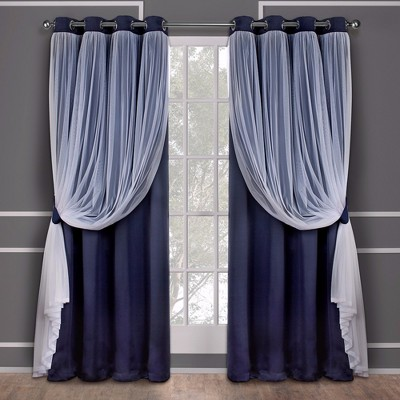 Caterina Layered Solid Blackout with sheer top curtain panels Navy 52x63 - Exclusive Home