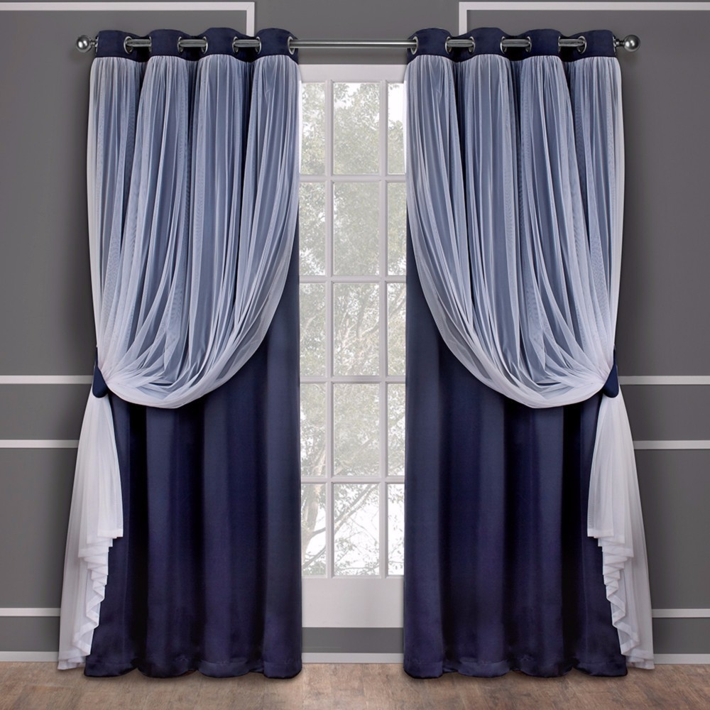 Caterina Layered Solid Blackout with sheer top curtain panels Navy (Blue) 52x84 - Exclusive Home