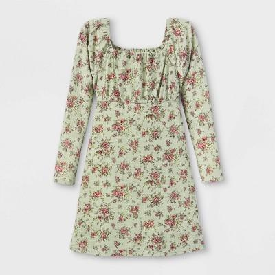 Girls' Floral Long Sleeve Dress - art class™