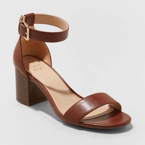 Women's Kianta Faux Leather Mid Block Heel Sandal Pumps - A New Day™ Brown - image 1 of 4