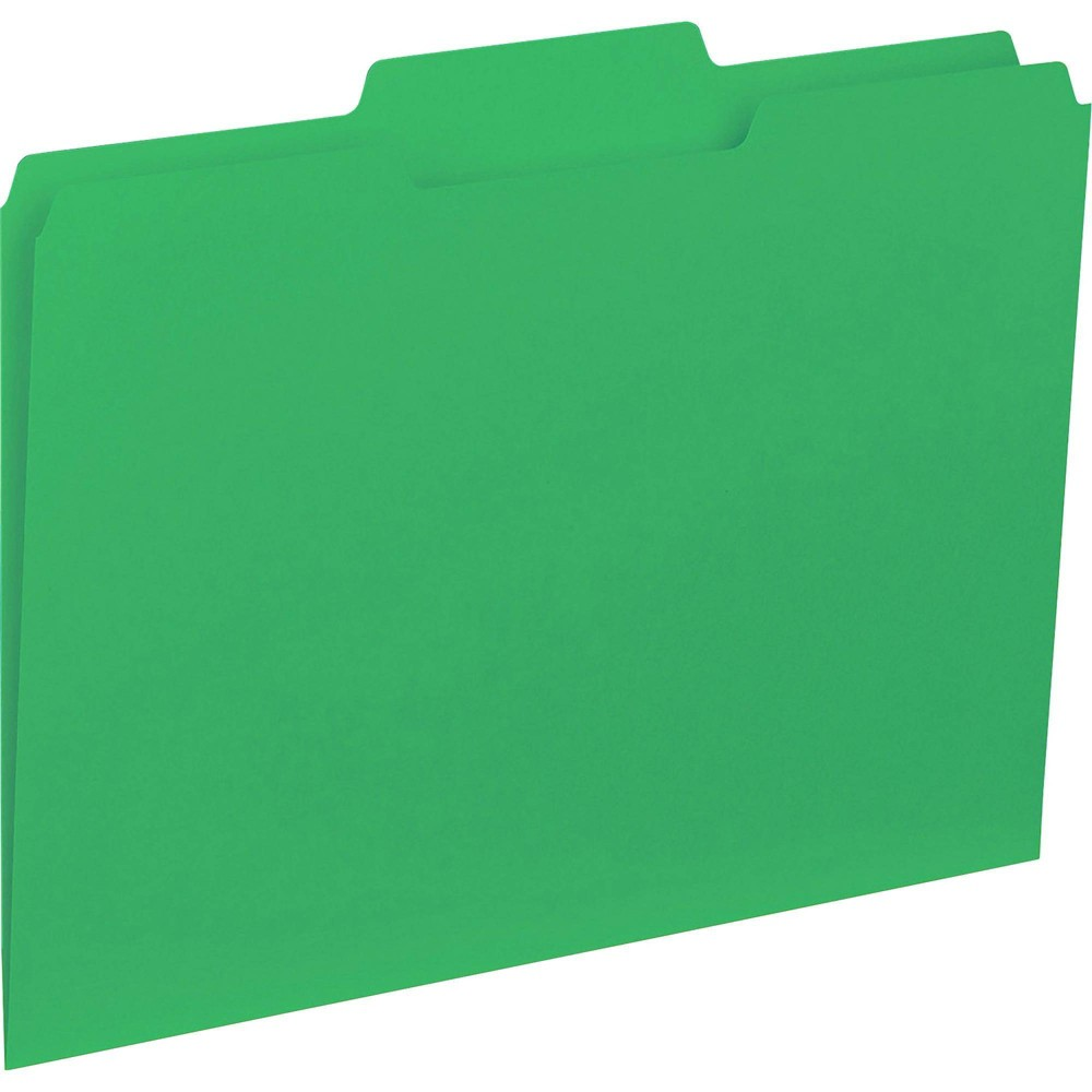 Image of Business Source 100ct 1/3 Cut Colored Interior File Folders - Green