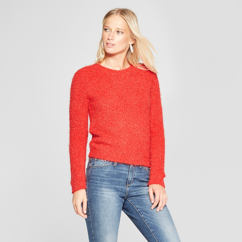 Women's Long Sleeve Eyelash Pullover Sweater - 3Hearts (Juniors') Red XL, White