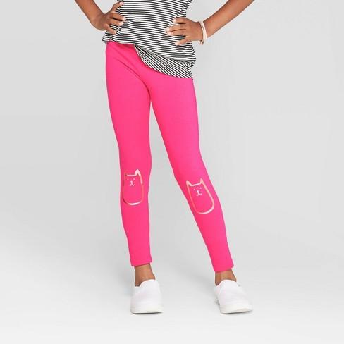 Girls' Foil Cat Knee Leggings - Cat & Jack™ Pink - image 1 of 3