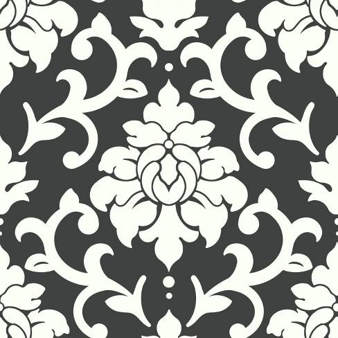 Damask Peel Stick Wallpaper Black Roommates