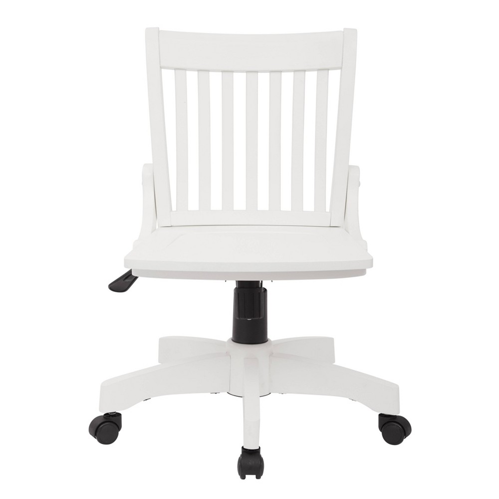 Deluxe Armless Wood Bankers Chair White Osp Home Furnishings