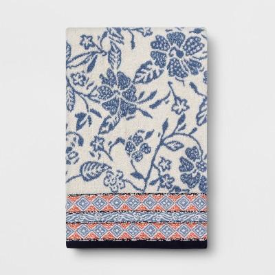 Floral Bath Towel White/Blue - Threshold™