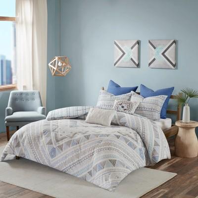 Blue Sydney Cotton Reversible Duvet Cover Set 7pc