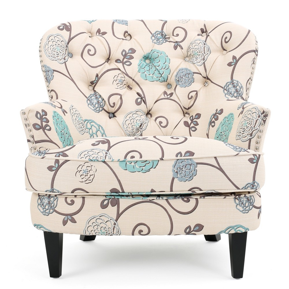 Tafton Floral Club Chair - White/Blue - Christopher Knight Home, Multi-Colored