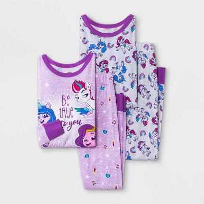 Girls' My Little Pony 4pc Pajama Set - Purple