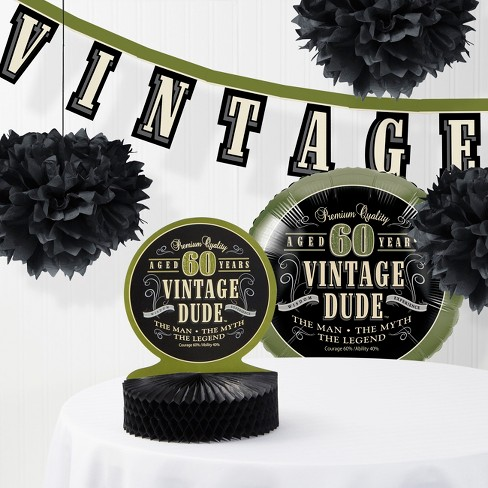 Vintage Dude 60th Birthday Party Decorations Kit Target