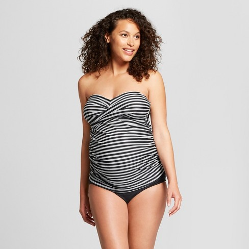 Maternity D/DD Cup Wrap Bandeau Tankini - Isabel Maternity by Ingrid & Isabel™ Black/White Stripe - image 1 of 2