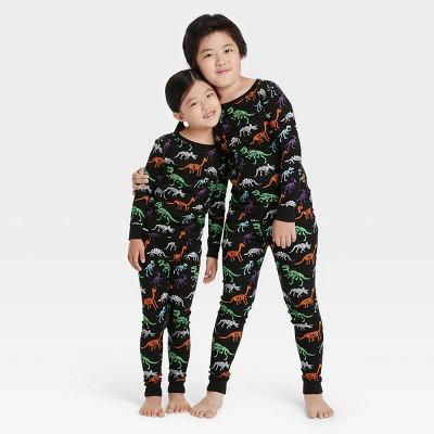 Toddler Halloween Dino Skeleton Print Matching Family Pajama Set - Black