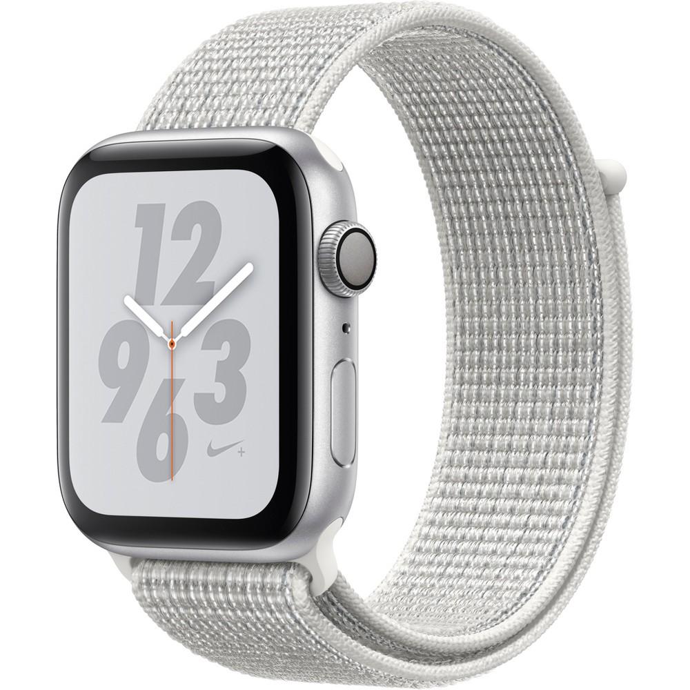 Apple Watch Series 4 Nike+ Gps 44mm Silver Aluminum Case with Summit Nike Sport Loop - White, White Sport Loop