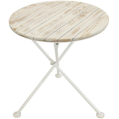 """Sunnydaze Indoor/Outdoor French Country European Chestnut Wood Folding Round Bistro Table - 28""""- White"""