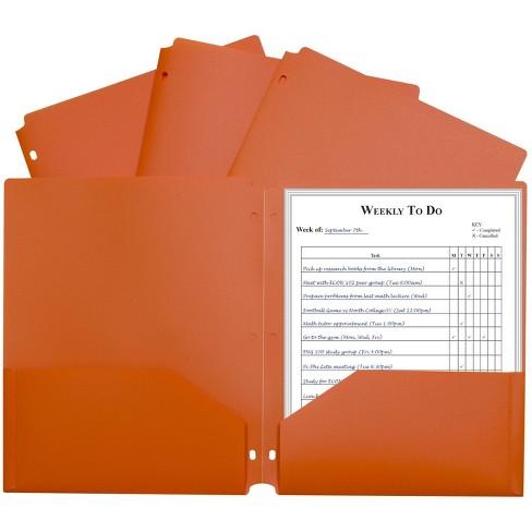 C-Line Poly Portfolio Folders 3-Hole Punch, Letters, 2-Pockets, Orange, pk of 25 - image 1 of 1