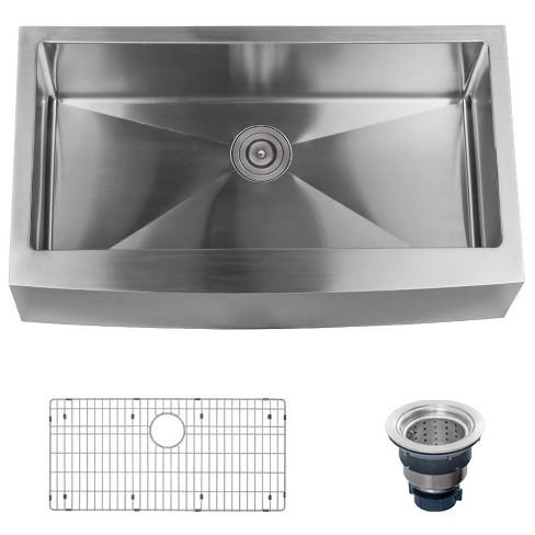 Surprising Miseno Mss3620F Farmhouse 36 Single Basin Stainless Steel Kitchen Sink Download Free Architecture Designs Sospemadebymaigaardcom