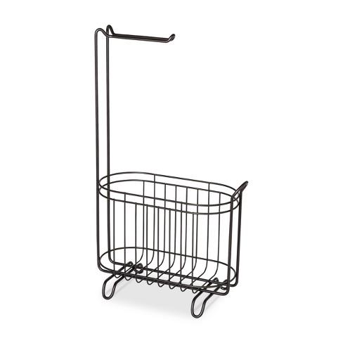 Reserve Basket With Freestanding Toilet Tissue Holder Bronze - Threshold™ - image 1 of 3