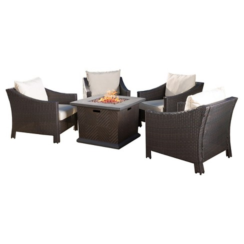 Antibes 5pc Wicker Chair And Mgo Gas Fire Pit Set Dark Brown Christopher Knight Home