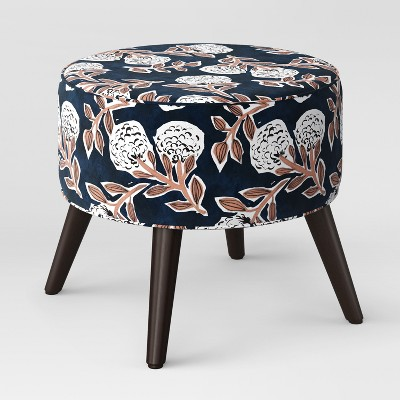 Riverplace Round Cone Leg Ottoman Navy Floral - Project 62™