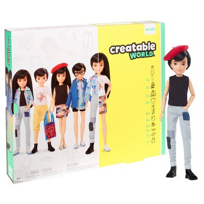 Creatable World Deluxe Character Kit Customizable Doll - Black Straight Hair