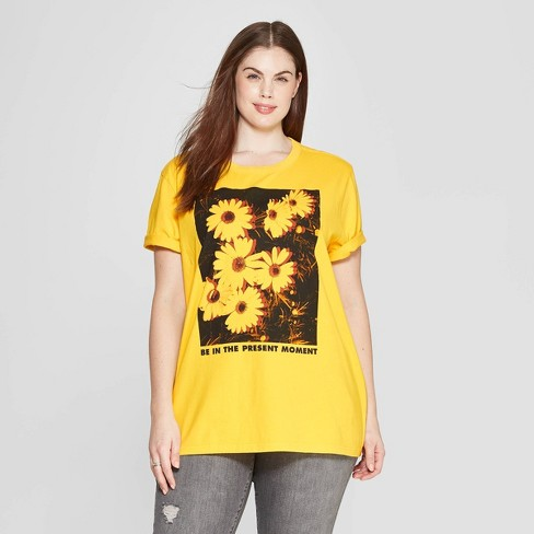 65c0b6c40 Women's Plus Size Short Sleeve Crewneck Be in the Present Flower Screen T- Shirt - Mighty Fine (Juniors') - Yellow
