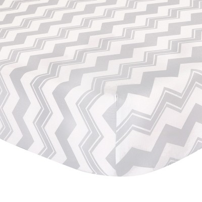 The Peanutshell Fitted Crib Sheet - Gray Chevron