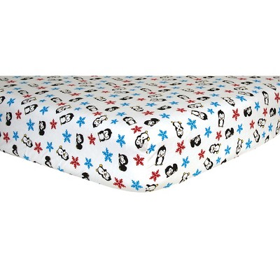 Trend Lab Deluxe Flannel Fitted Crib Sheet - Penguin