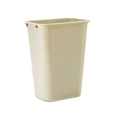 Rubbermaid Commercial Deskside Plastic Wastebasket Rectangular 10 1/4 gal Beige 295700BG