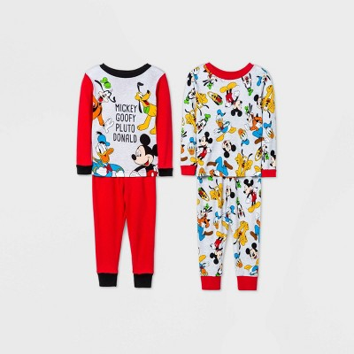 Baby Boys' 4pc Mickey & Goofy Pajama Set - Red 12M