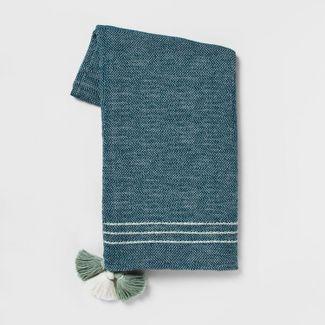 60u0022x50u0022 Tassels Throw Blanket Teal - Opalhouse™