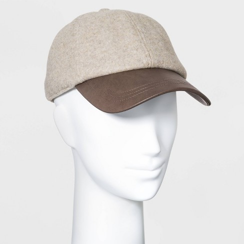 Women's Felt and Vegan Leather Baseball Hat - Universal Thread™ Cream/Camel - image 1 of 2