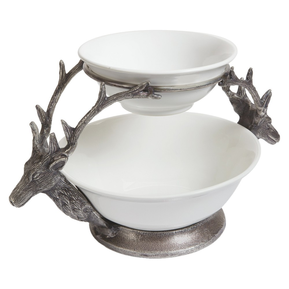 Myers Two Tier Bowl Porcelain/Antique Nickel Metal - White, Dove White