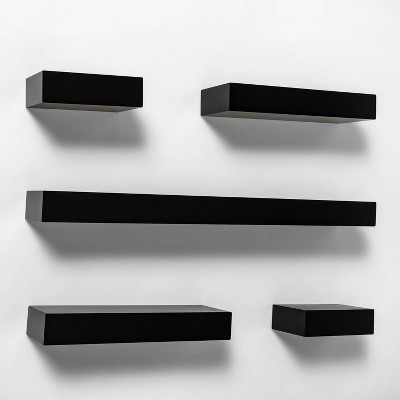 4 PC Contemporary Floating Wall Shelves Set Home Decor Black or White