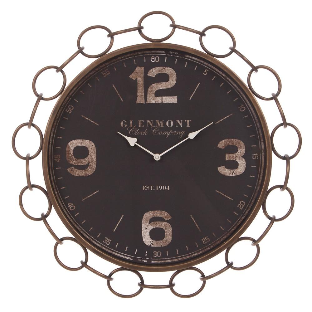 23 Glenmont Modern Chain Link Beveled Wall Clock Black - Patton Wall Decor