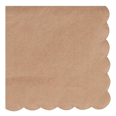 Juvale Cocktail Napkins - 100-Pack Disposable Kraft Paper Napkins, Rustic Holiday, Brown