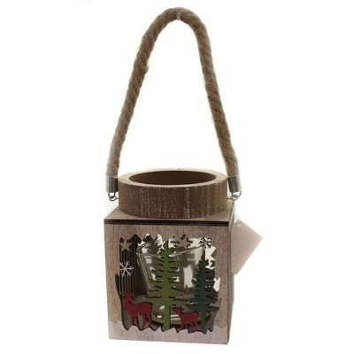 "Christmas 6.25"" Winter Scene Lantern Deer Votive Holder Woods  -  Candle Holders"