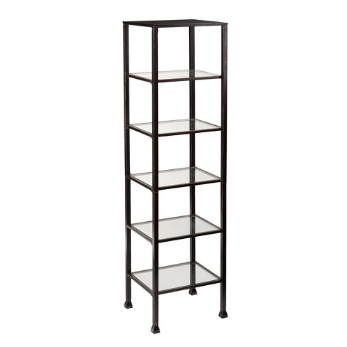 Metal And Glass 5 Shelf Tower - Black/Silver - Aiden Lane - image 1 of 3