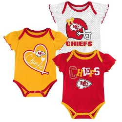 NFL Kansas City Chiefs Baby Girls' Newest Fan 3pk Bodysuit Set