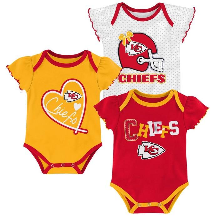 NFL Kansas City Chiefs Baby Girls' Newest Fan 3pk Bodysuit Set - image 1 of 4