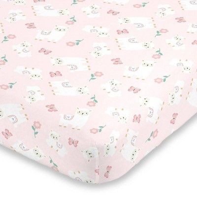 Little Love By NoJo Sweet Llama and Butterflies Super Soft Fitted Crib Sheet - Floral Pink and White