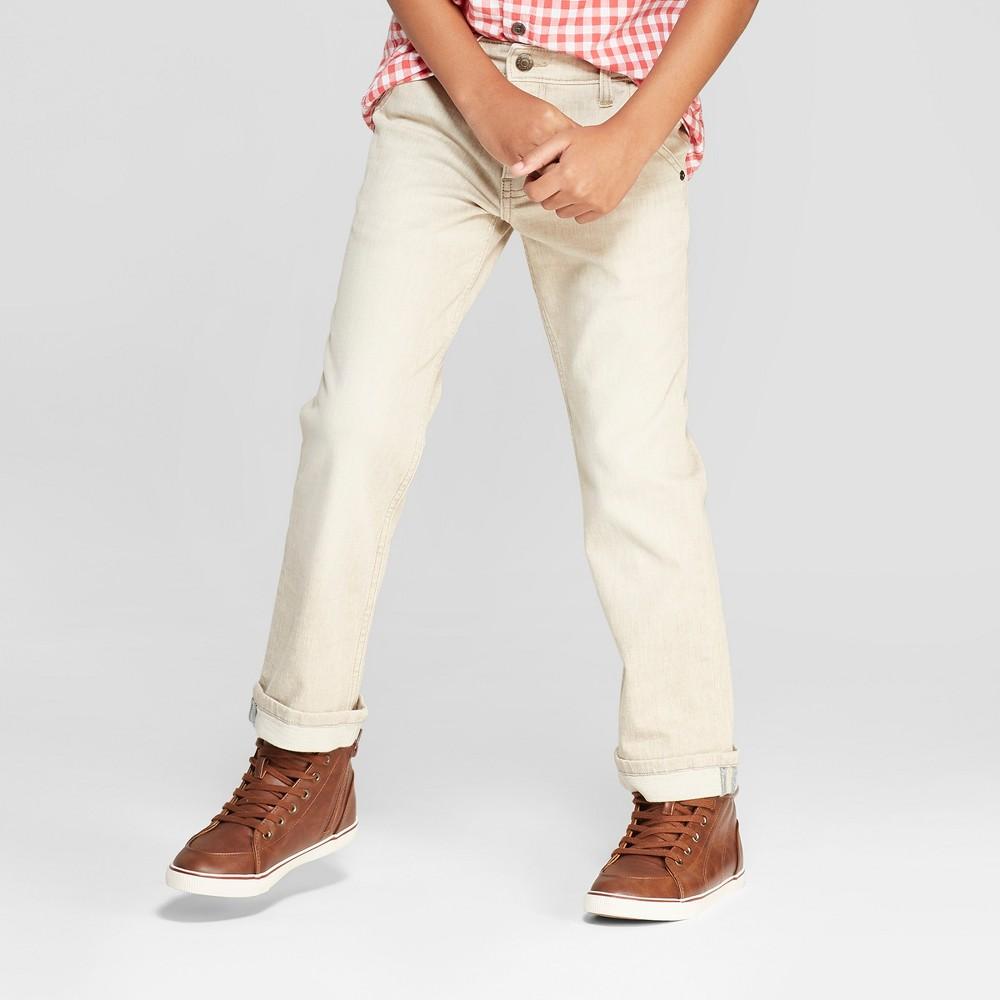 Boys' Charm Straight Jeans - Cat & Jack Khaki 4, Beige
