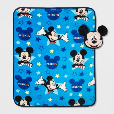 Disney Mickey Mouse 40 x50  Doodle Nogginz and Travel Blanket Blue