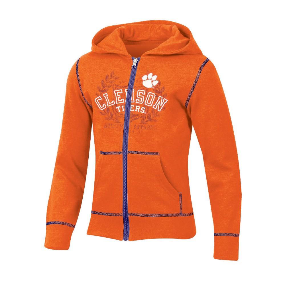 Clemson Tigers Girls' Long Sleeve Full Zip Hoodie - S, Multicolored